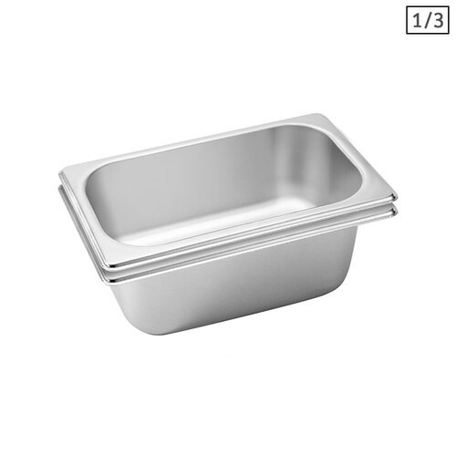 2X Gastronorm GN Pan Full Size 1/3 GN Pan 10cm Deep Stainless Steel Tray