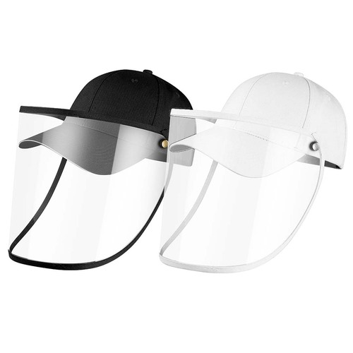 2X Outdoor Protection Hat Anti-Fog Pollution Dust Protective Cap Full Face HD Shield Cover Adult Black/White