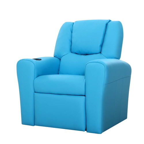 Artiss Kids PU Leather Reclining Armchair - Blue