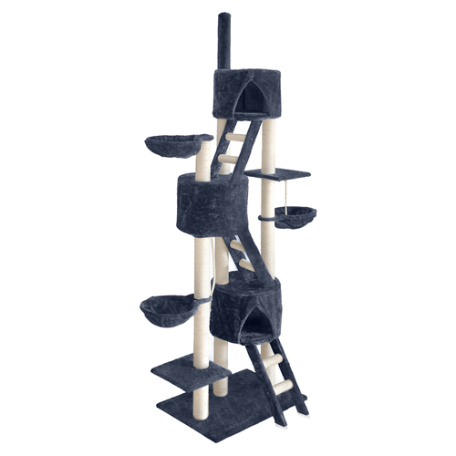 244cm Multi Level Cat Scratching Post - Grey