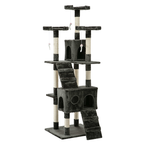 i.Pet 180cm Multi Level Cat Scratching Post - Grey