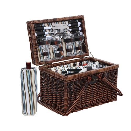 Alfresco Deluxe 4 Person Picnic Basket Set Folding Outdoor Insulated Liquor bag