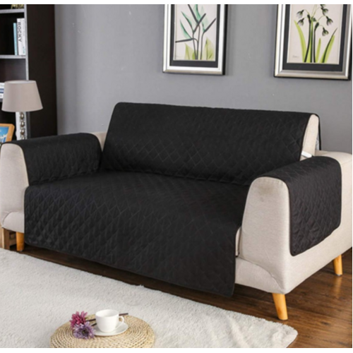 Couch Covers Protector Slipcovers 2 Seater Reversible Black/Red