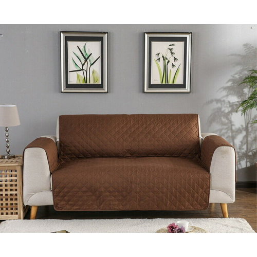 Couch Covers Protector Slipcovers 2 Seater Reversible Brown/Beige