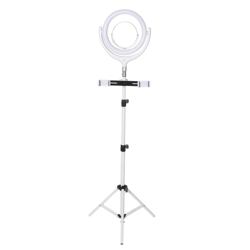 LED Ring Light with Tripod Stand Phone Holder Dimmable Studio Lamp Makeup Mirror White