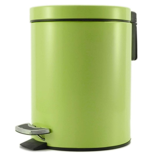Foot Pedal Stainless Steel Rubbish Recycling Garbage Waste Trash Bin Round 12L Green
