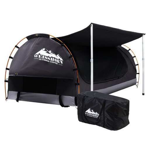 Weisshorn Double Swag Camping Swags Canvas Free Standing Dome Tent Dark Grey with 7CM Mattress