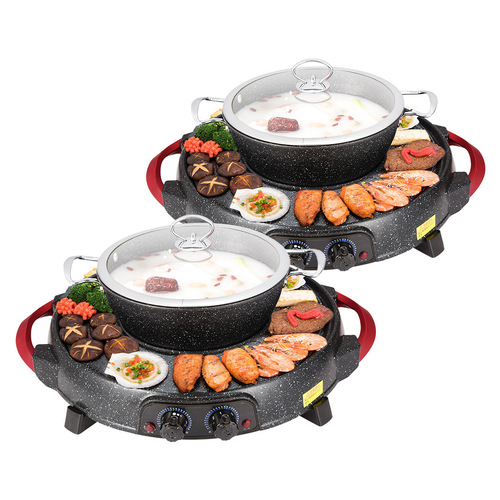 2X 2  in 1 Electric Stone Coated Teppanyaki Grill Plate Steamboat Hotpot