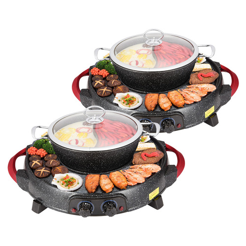 2X 2  in 1 Electric Stone Coated Grill Plate Steamboat Two Division Hotpot