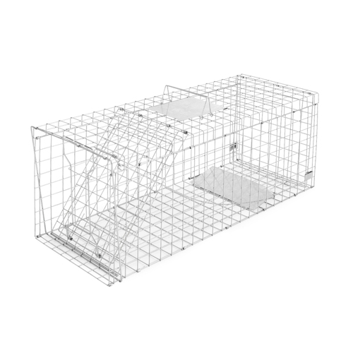 Humane Animal Trap Cage 150 x 50 x 53cm  - Silver