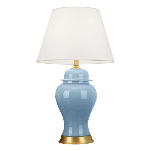 Oval Ceramic Table Lamp with Gold Metal Base Desk Lamp Blue