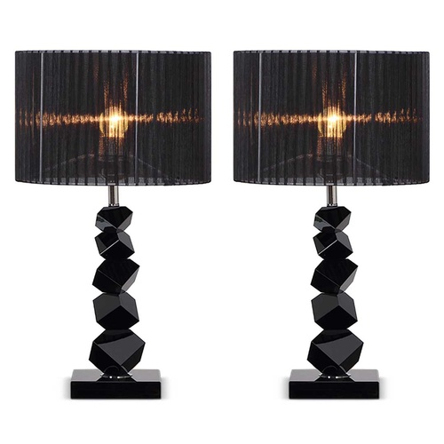 2x 60cm Black Table Lamp with Dark Shade LED Desk Lamp