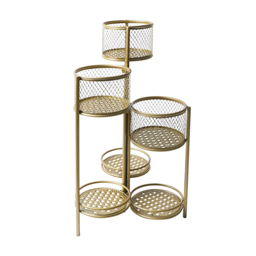 6 Tier Plant Stand Swivel Outdoor Indoor Metal Stands Flower Shelf Gold Garden