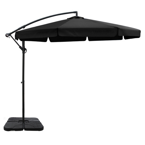 Instahut 3M Umbrella with 50x50cm Base Outdoor Umbrellas Cantilever Patio Sun Beach UV Black