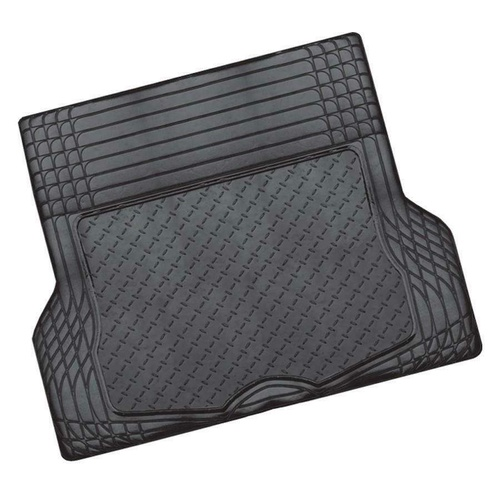 ALUMINIUM LOOK 1-Piece Boot Mat - BLACK [Rubber/Aluminium Look]