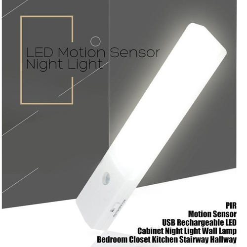 EL608 Rechargeable Infrared Motion Sensor Wall LED Night Light Torch (Cool White)