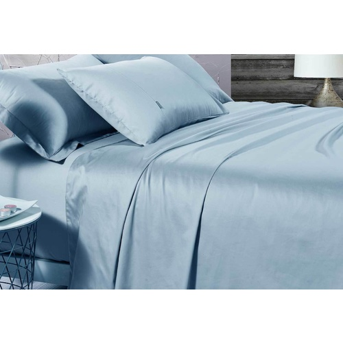 Single Size 500TC Cotton Sateen Fitted Sheet (Blue Color)