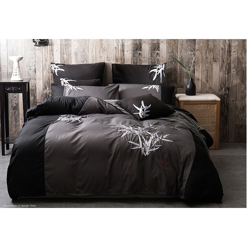 Queen Size Embroidered Bamboo Pattern Black Grey Quilt Cover Set (3PCS)