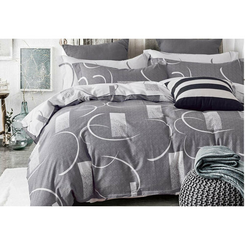 100% Cotton Queen Size 3pcs Bromley Grey Quilt Cover Set