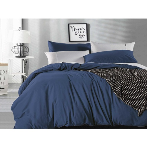 Super King Size Indigo Vintage Washed Cotton Quilt Cover Set(3PCS)