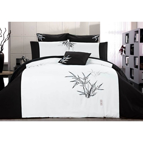 Super King Size Embroidered Bamboo Pattern White Quilt Cover Set (3PCS)