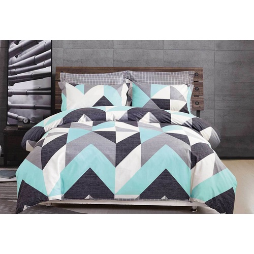 Queen Size Cotton Aqua Zig Zag Quilt Cover Set (3PCS)