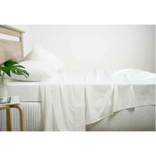 Queen Size 2500TC Cotton Rich Sheet Set (White Color)