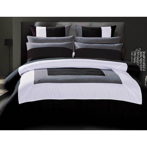 King Size Black Grey White Quilt Cover Set(3PCS)