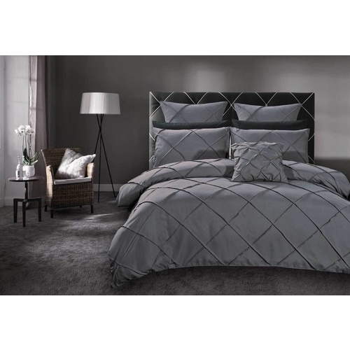 King Size Grey Diamond Pintuck Quilt Cover Set(3PCS)