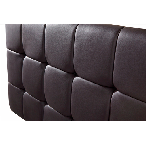 PU Leather Double Bed Deluxe Headboard Bedhead - Brown