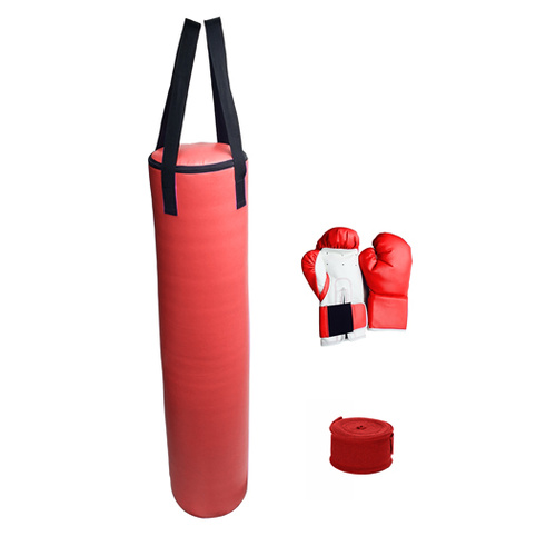 70lb Red Heavy Bag Kit Punching Boxing Bag Gloves Hand Wraps