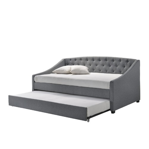 Daybed with trundle bed frame fabric upholstery - grey
