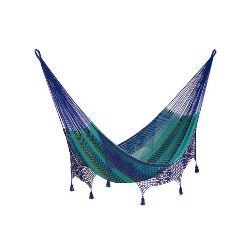 Deluxe Outdoor Cotton Mexican Hammock  in Caribe  Colour