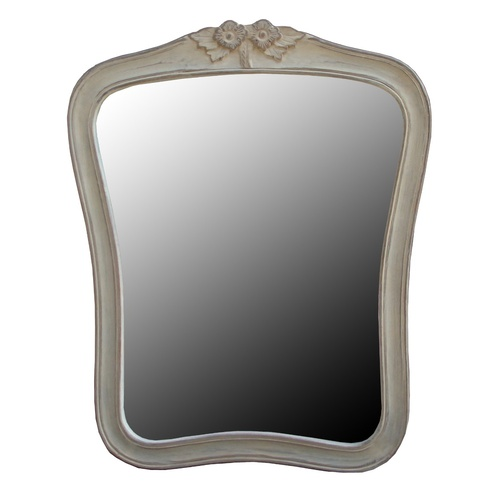 Wash White Mirror With Carving