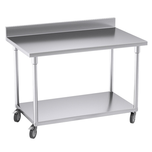 SOGA Commercial Catering Kitchen Stainless Steel Prep Work Bench Table with Backsplash and Caster Wheels 120*70*96