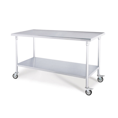 SOGA Commercial Catering Kitchen Stainless Steel Prep Work Bench Table with Wheels 100*70*96cm