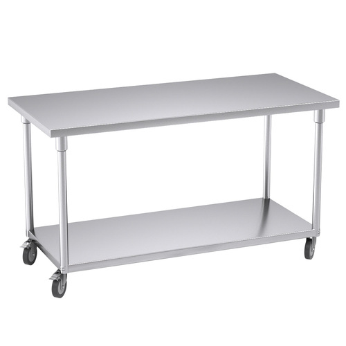 Commercial Catering Kitchen Stainless Steel Prep Work Bench Table with Wheels 150*70*96cm