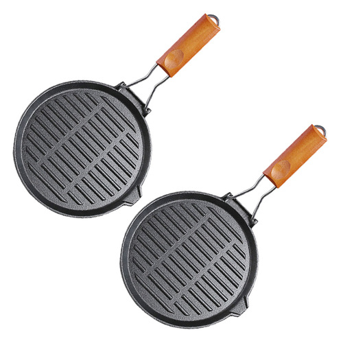 2X 24cm Round Ribbed Cast Iron Steak Frying Grill Skillet Pan with Folding Wooden Handle