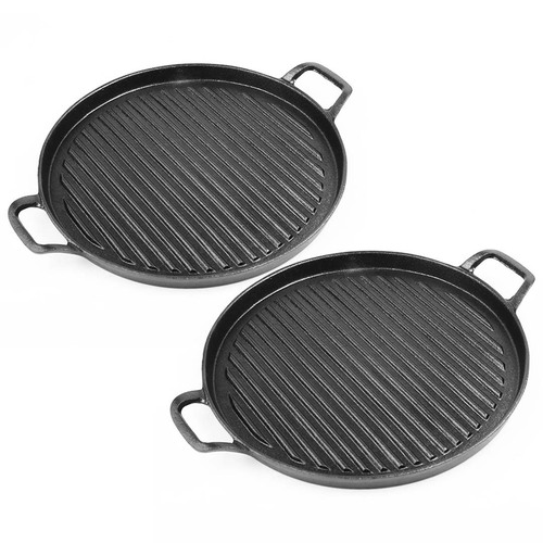 2X 30cm Ribbed Cast Iron Frying Pan Skillet Non-stick Coating Steak Sizzle Platter