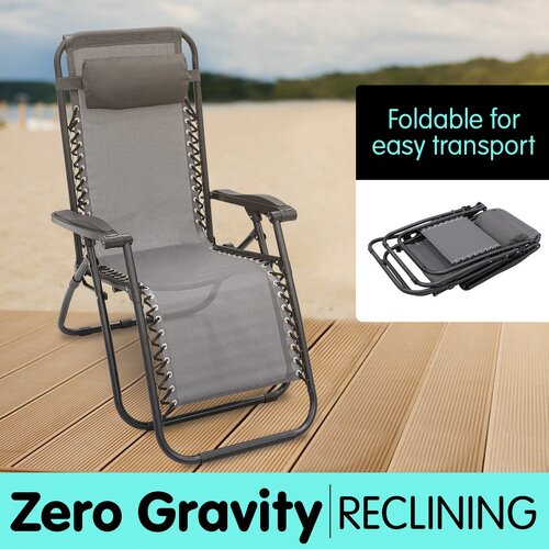 Zero Gravity Reclining Deck Chair - Grey