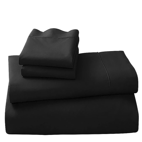 Black Cotton microfibre 500tc 4pc King sheet set