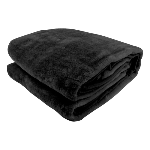 600GSM Large Double-Sided Queen Faux Mink Blanket - Black