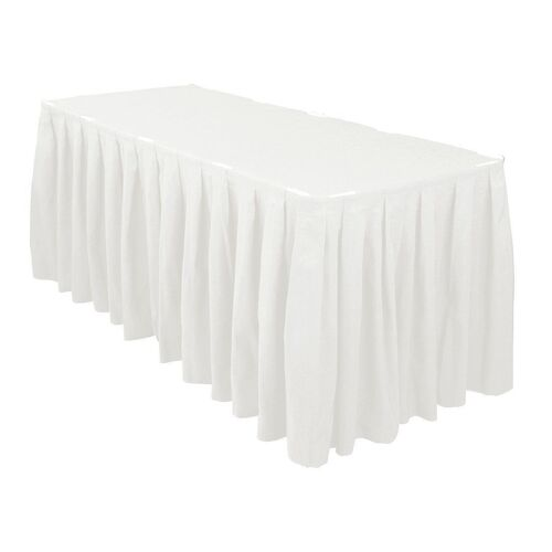 Table Skirt Box Pleat Polyester  (3m) with velcro - White